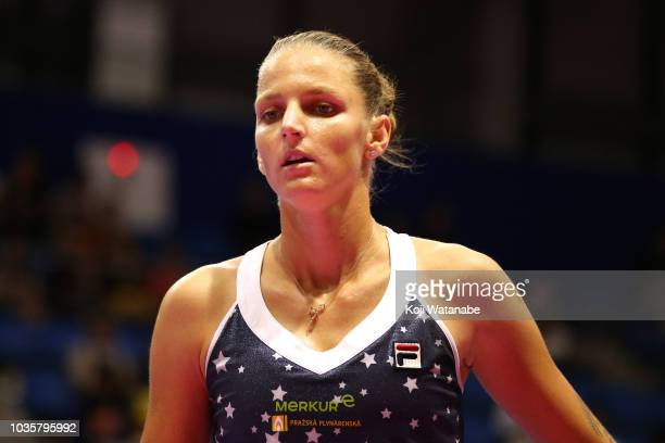 Karolina Pliskova of the Czech Republic reacts during her Singles second round match against Daria Gavrilova of Australia on day three of the Toray...