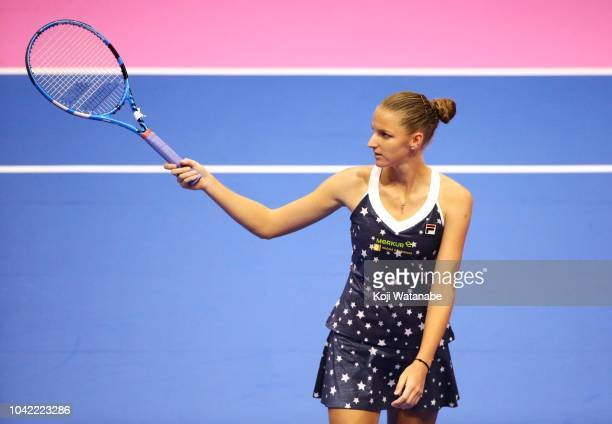 Karolina Pliskova of the Czech Republic reacts in the Singles semi final against Donna Vekic of Croatia on day six of the Toray Pan Pacific Open at...