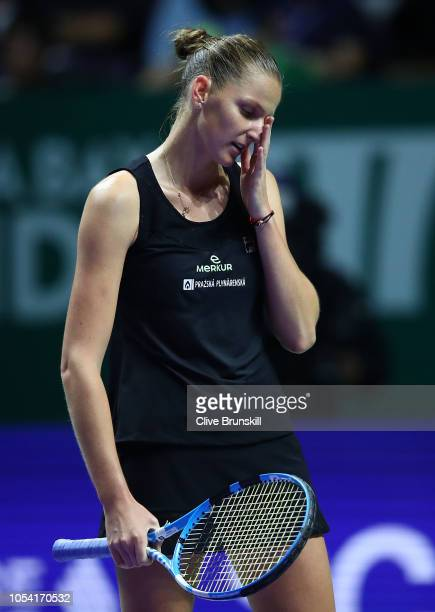 Karolina Pliskova of the Czech Republic reacts to a point against Sloane Stephens of the United States during the women's singles semi final match on...
