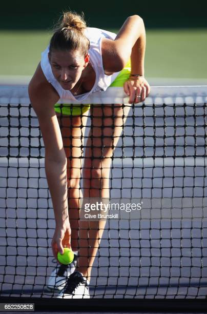 Karolina Pliskova of the Czech Republic relaxes during a practice session on day six of the BNP Paribas Open at Indian Wells Tennis Garden on March...