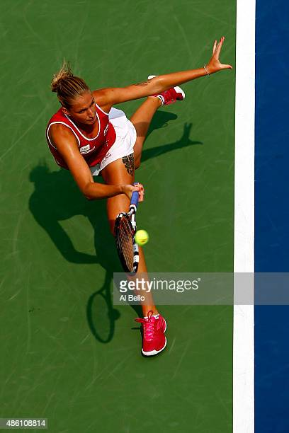 Karolina Pliskova of the Czech Republic returns a shot against Anna Tatishvili of the United States during her Women's Singles First Round match on...