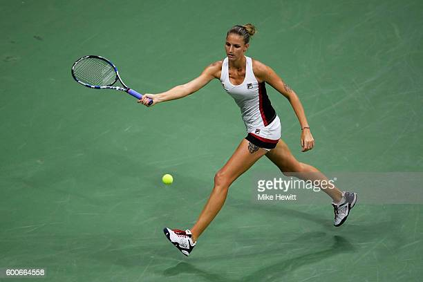 Karolina Pliskova of the Czech Republic returns a shot to Serena Williams of the United States during their Women's Singles Semifinal Match on Day...