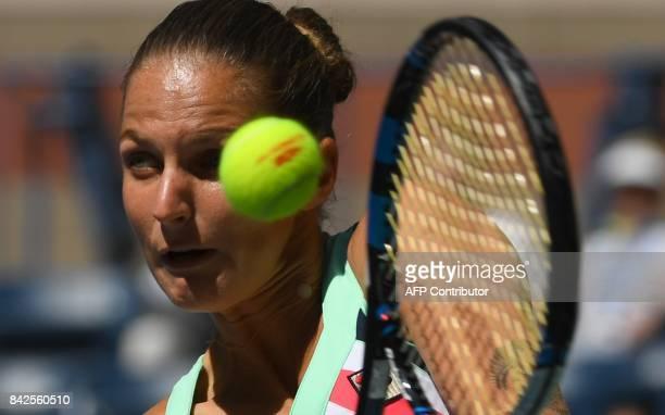 Karolina Pliskova of the Czech Republic returns the ball to Jennifer Brady of the US during their Round 4, US Open 2017, Women's Singles match at the...