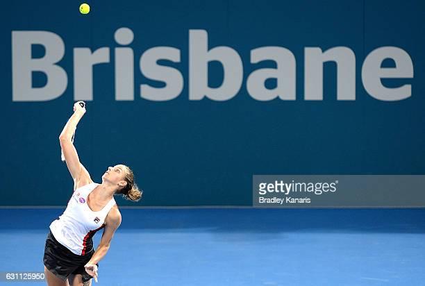 Karolina Pliskova of the Czech Republic serves against Alize Cornet of France during the Women's Final on day seven of the 2017 Brisbane...