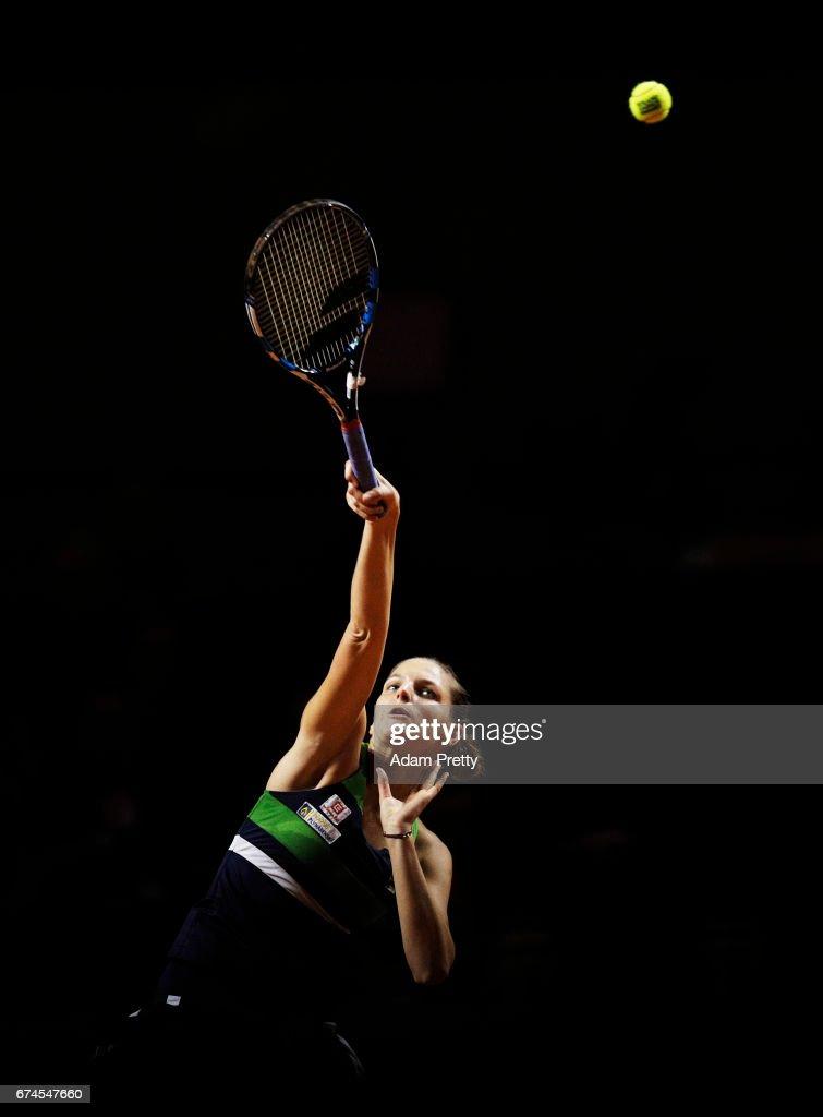 Karolina Pliskova of the Czech Republic serves during her match against Laura Siegemund of Germany during the Porsche Tennis Grand Prix at Porsche Arena on April 28, 2017 in Stuttgart, Germany.