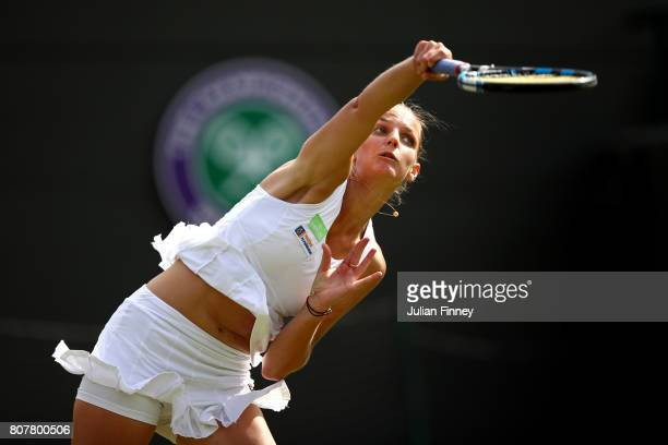 Karolina Pliskova of the Czech Republic serves during the Ladies Singles first round match against Evgeniya Rodina of Russia on day two of the...