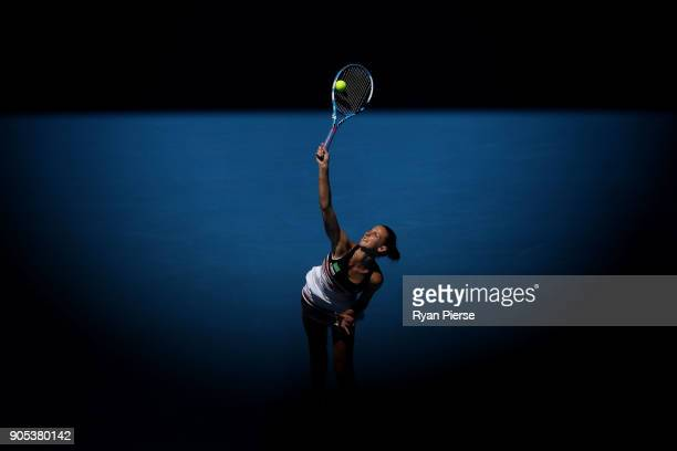 Karolina Pliskova of the Czech Republic serves in her first round match against Veronica Cepede Royg of Paraguay on day two of the 2018 Australian...