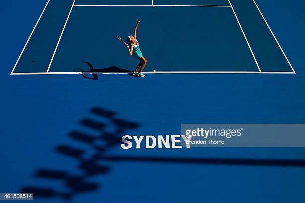 Karolina Pliskova of the Czech Republic serves in her quarter final match against Carla Suarez Navarro of Spain during day four of the 2015 Sydney...