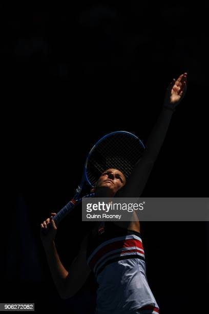 Karolina Pliskova of the Czech Republic serves in her second round match against Beatriz Haddad Maia of Brazil on day four of the 2018 Australian...