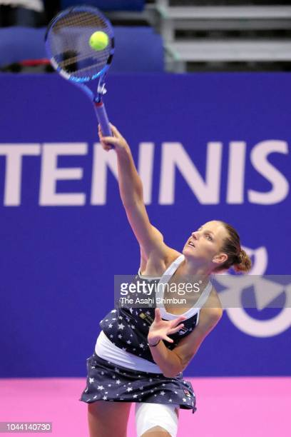 Karolina Pliskova of the Czech Republic serves in the Singles final against Naomi Osaka of Japan on day seven of the Toray Pan Pacific Open at Arena...