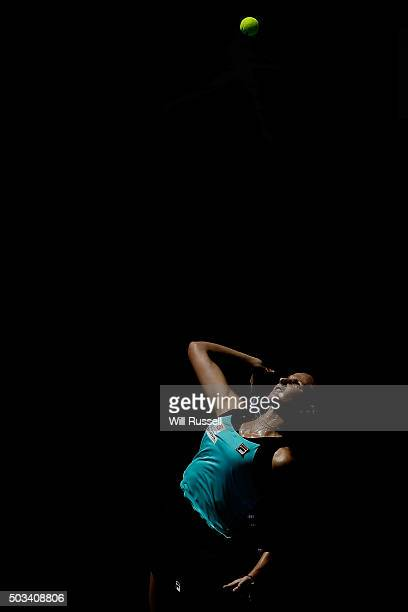 Karolina Pliskova of the Czech Republic serves in the women's single match against Elina Svitolina of the Ukraine during day three of the 2016 Hopman...
