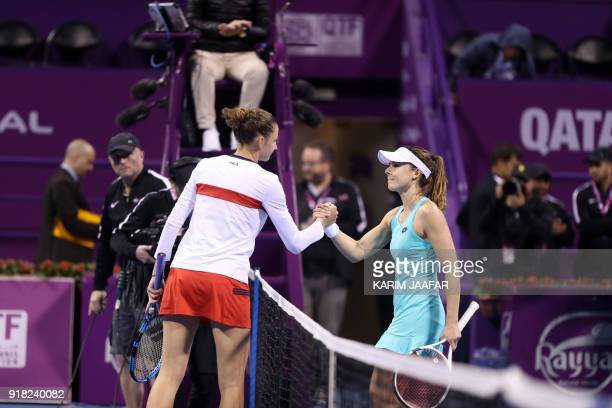 Karolina Pliskova of the Czech Republic shakes hands with Alize Cornet of France during their singles match in the second round of the Qatar Open...