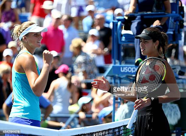 Karolina Pliskova of the Czech Republic shakes hands with Ana Ivanovic of Serbia after their women's singles second round match on Day Four of the...