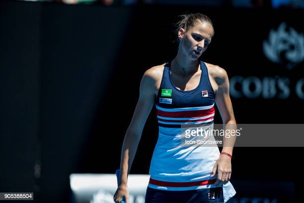 Karolina Pliskova of the Czech Republic shows her dismay in her first round match during the 2018 Australian Open on January 16 at Melbourne Park...