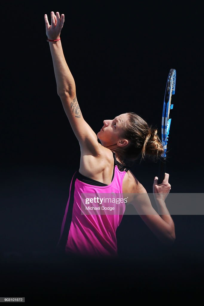 Karolina Pliskova of the Czech Repyblic serves during a practice session ahead of the 2018 Australian Open at Melbourne Park on January 10, 2018 in Melbourne, Australia.