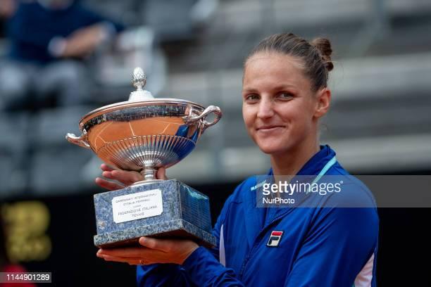 Karolina Pliskova poses with the trophy winning her Women Final match against Johanna Konta during Internazionali BNL D'Italia Italian Open at the...