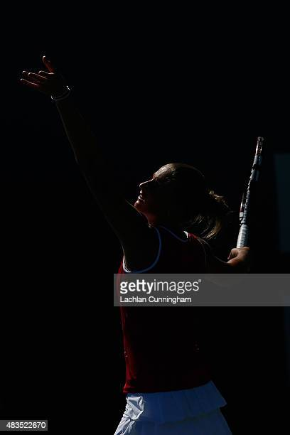 Karolina Plivskova of the Czech Republic plays against Angelique Kerber of Germany during day seven of the Bank of the West Classic at the Stanford...