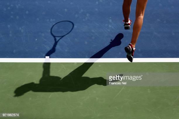 Karolina Ploskova of Czech Republic in action against Carla Suarez Navarro of Spain during day three of the WTA Dubai Duty Free Tennis Championship...