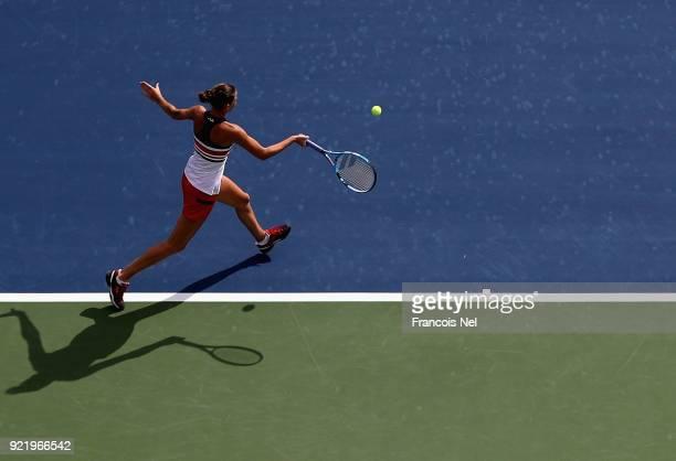 Karolina Ploskova of Czech Republic plays a forehand against Carla Suarez Navarro of Spain during day three of the WTA Dubai Duty Free Tennis...
