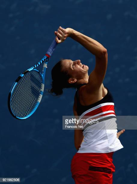 Karolina Ploskova of Czech Republic serves in her match against Carla Suarez Navarro of Spain during day three of the WTA Dubai Duty Free Tennis...