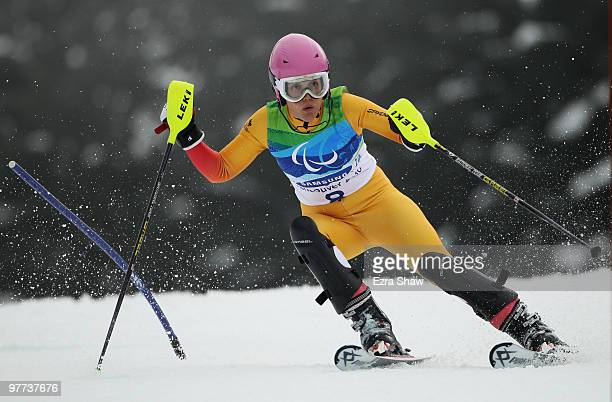 Karolina Wisniewska of Canada competes in the Women's Standing Slalom during Day 4 of the 2010 Vancouver Winter Paralympics at Whistler Creekside on...