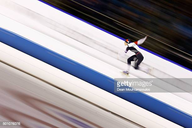 Karolina Erbanova of Czech Republic competes in the 1000m Ladies race during day two of the ISU World Cup Speed Skating held at Thialf Ice Arena on...