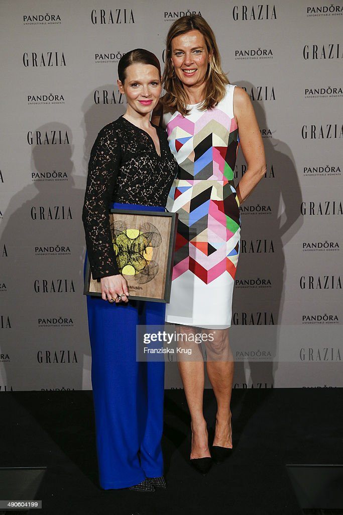Karoline Herfurth and Astrid Sass attend the Pandora At Grazia Best Dressed Award at Soho House on May 14, 2014 in Berlin, Germany.