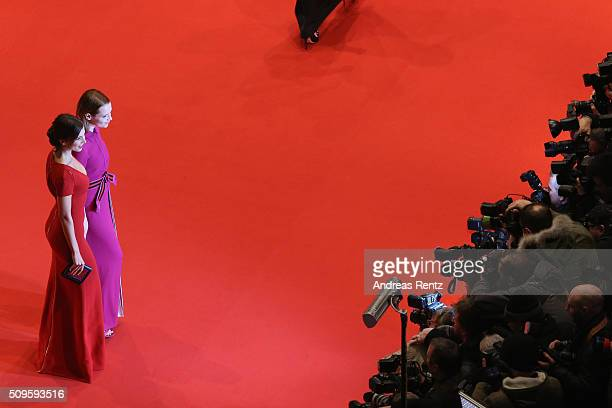 Karoline Herfurth and Aylin Teze attend the 'Hail Caesar' premiere during the 66th Berlinale International Film Festival Berlin at Berlinale Palace...