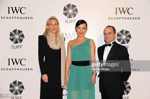 Karoline Huber, IWC Director of Marketing & Communications , actress Yu Nan and Benoit De Clerck, IWC Managing Director Asia Pacific attend the...