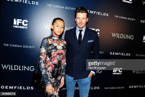 Karoline Lundqvist and Alex Lundqvist attend The Cinema Society Gemfields host a special screening of IFC Midnight's Wildling at iPic Theater on...