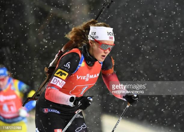 Karoline Offigstad Knotten of Norway competes in the IBU World Cup biathlon women's 4x6 km relay event at Ostersund Ski Stadium on December 8 2019 /...