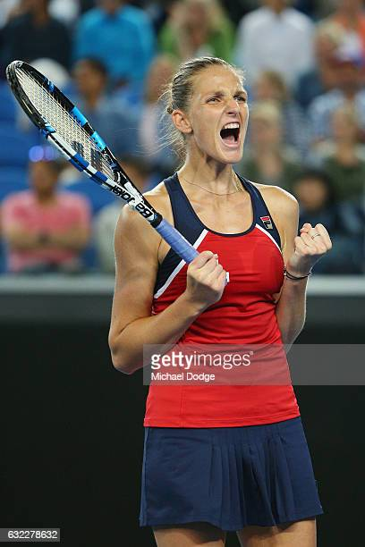 Karoline Plistova of the Czech Republic celebrates winning match point in her third round match against Jelena Ostapenko of Latvia on day six of the...