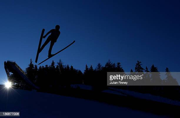 Karoline Roestad of Norway jumps in a Ski Jump practice during previews to the Winter Youth Olympic Games on January 12 2012 in Seefeld Austria