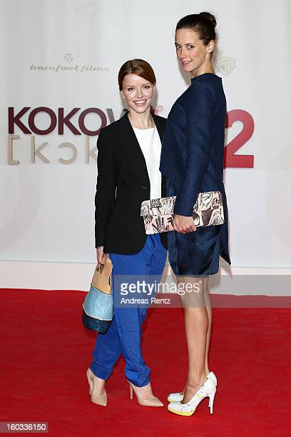 Karoline Schuch and Anja Knauer attend 'Kokowaeaeh 2' Germany Premiere at Cinestar Potsdamer Platz on January 29 2013 in Berlin Germany