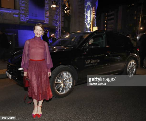 Karoline Schuch attends the Porsche at Blue Hour Party hosted by ARD during the 68th Berlinale International Film Festival Berlin at Museum fuer...