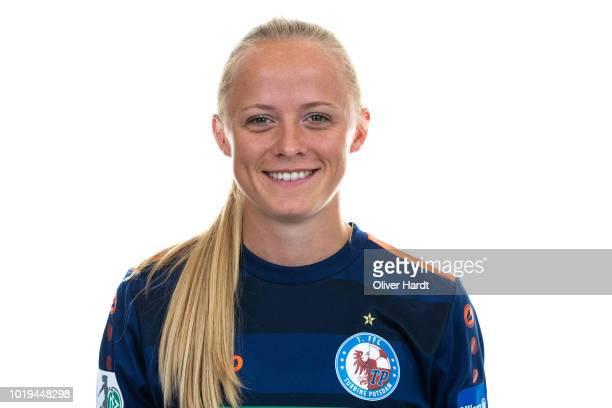 Karoline Smidt Nielsen of Turbine Potsdam poses during the Allianz Frauen Bundesliga Club Tour at on August 17 2018 in Potsdam Germany