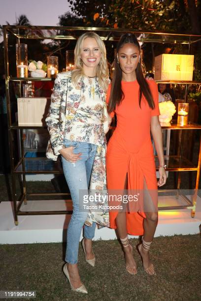 Karolína Kurková and Joan Smalls attend Ruinart x Vik Muniz Art Basel Miami Beach Champagne Fête at Miami Beach Botanical Garden on December 04 2019...