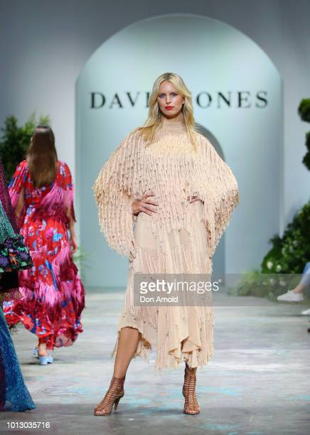 Karol'na Kurkov‡ showcases designs by XXX during the media rehearsal ahead of the David Jones Spring Summer 18 Collections Launch at Fox Studios on...