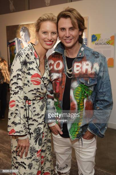 Karolína Kurkova and Jonathan Cheban attend FOOD MEETS ART hosted by Jose Andres for American Express Platinum Card Members at the SLS South Beach...