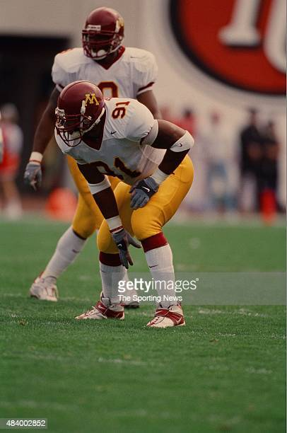 Karon Riley of the Minnesota Golden Gophers plays defense against the Indiana Hoosiers on October 21 2000