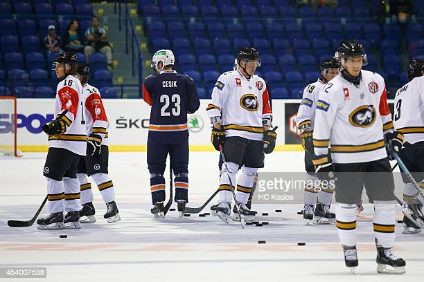 Karpat Oulu players warm up ahead of the Champions Hockey League group  stage game between HC 38f4db853e7