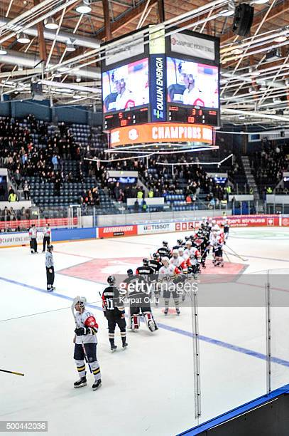 Karpat Oulu won the game 5-1, and 5-3 on aggregate during the Champions Hockey League quarter final between Karpat Oulu and Espoo Blues at Oulun...