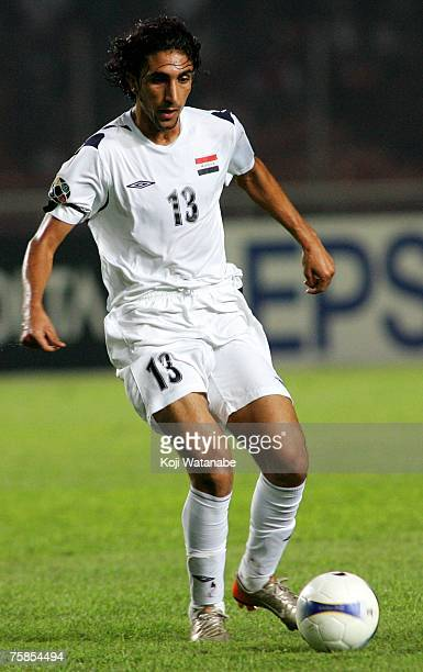Karrar Jassim of Iraq in action during the AFC Asian Cup 2007 final between Iraq and Saudi Arabia at Gelora Bung Karno Stadium on July 29 2007 in...