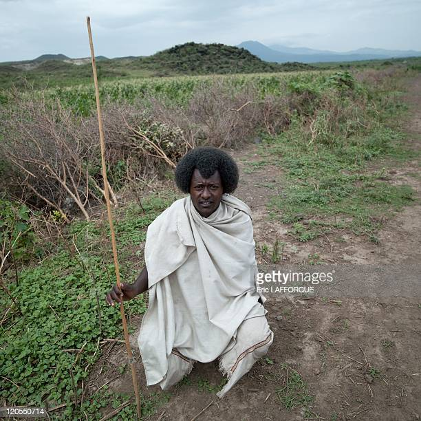 Karrayyu man holding a stick in Ethiopia on July 11, 2010 - The Karrayyu are a pastoralist tribe from Ethiopia living in the Awash Valley, around the...