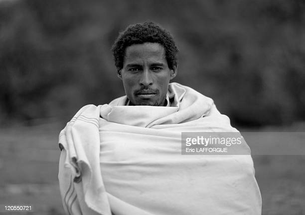 Karrayyu man in Ethiopia on July 11, 2010 - The Karrayyu are a pastoralist tribe from Ethiopia living in the Awash Valley, around the volcano of...