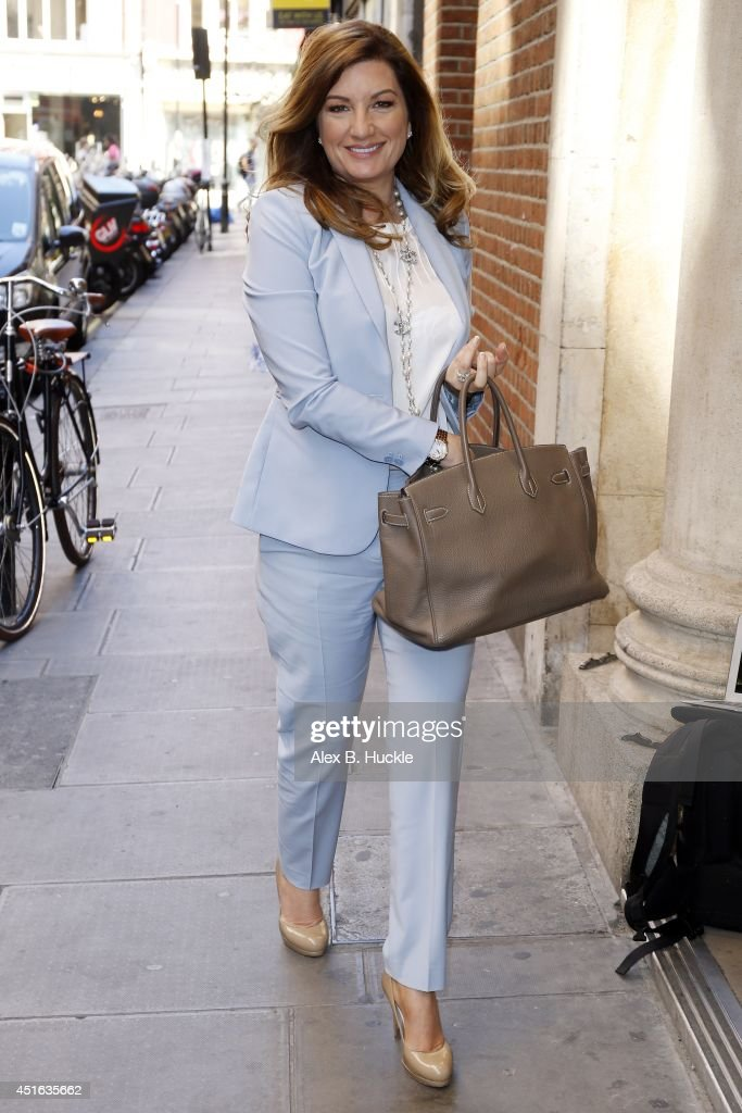 Karren Brady seen arriving at the Bauer Media offices for radio interviews on July 3 2014 in London, England.