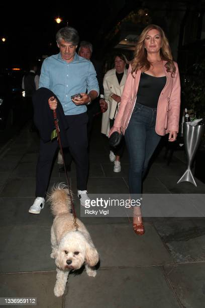 Karren Brady seen on a night out with husband Paul Peschisolido and friends at Scott's restaurant in Mayfair on August 28, 2021 in London, England.