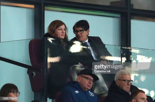 Karren Brady, Vice-Chairman of West Ham United and her husband Paul Peschisolido are seen in the stands prior to the Carabao Cup Fourth Round match...