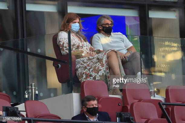 Karren Brady, vice-chairperson of West Ham looks on from the stands during the Premier League match between West Ham United and Watford FC at London...
