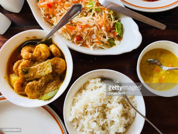 karri koko - seychelles prawn curry cooked in coconut milk - creole culture stock pictures, royalty-free photos & images